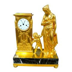 """French Empire Allegorical Clock Depicting """"Venus Guided by Love"""" by Lesieur"""