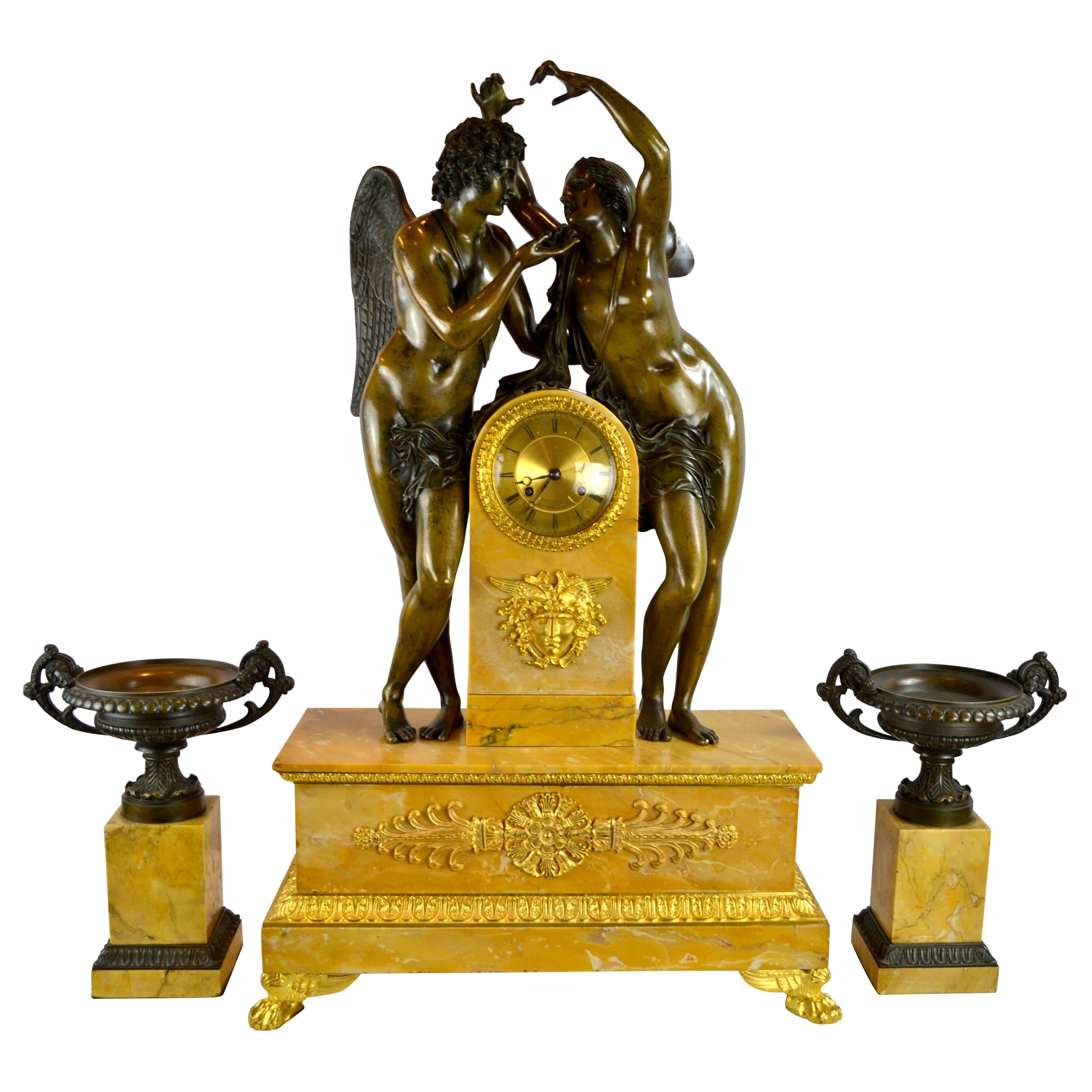"""French Empire Allegorical Clock Garniture of """"Psyche Crowning Amor"""""""