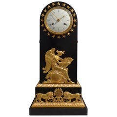 French Empire Antique Black Marble and Ormolu Borne Clock by Maniere