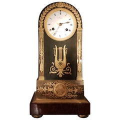 French Empire Antique Clock, Ormolu, Patinated Bronze and Marble