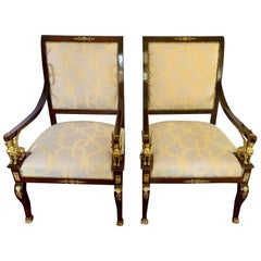 French Empire Armchairs with Ormolu Mounts and New Upholstery Napoleon III