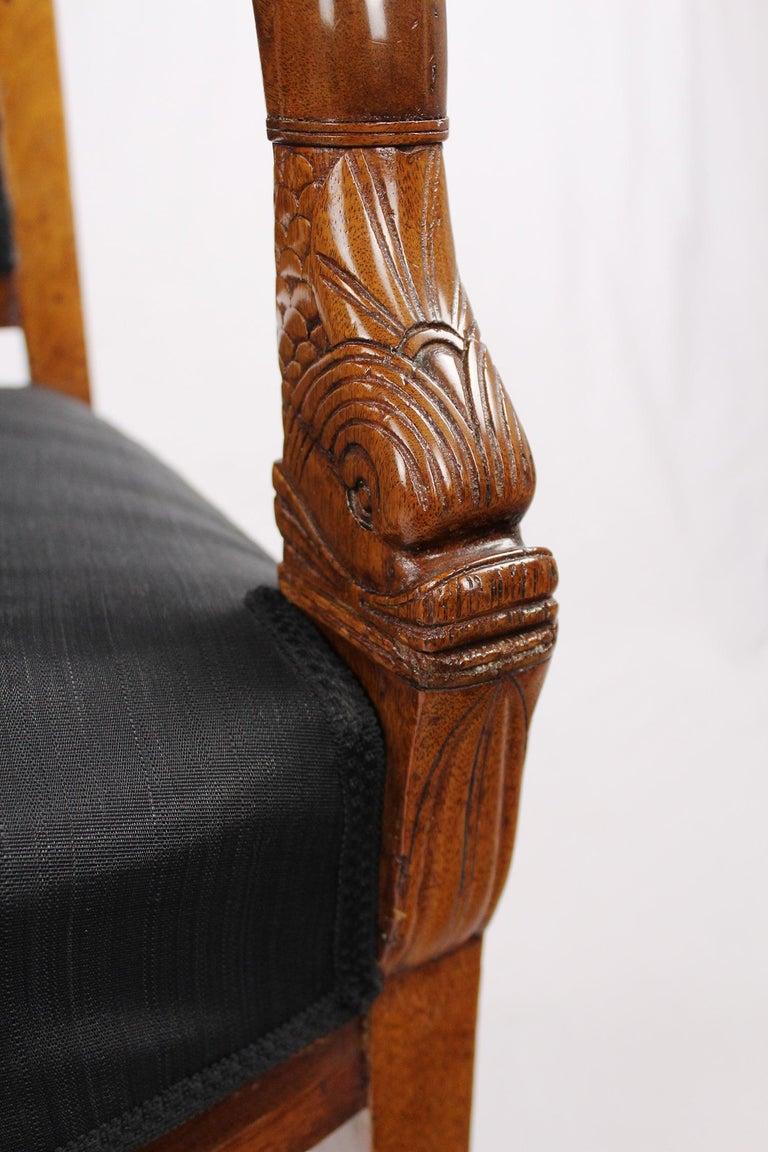 French Empire Armchair, Walnut, 1800-1810, Shellac Polish For Sale 6