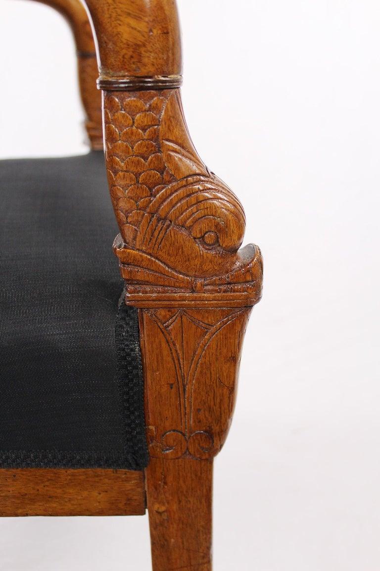 French Empire Armchair, Walnut, 1800-1810, Shellac Polish For Sale 8