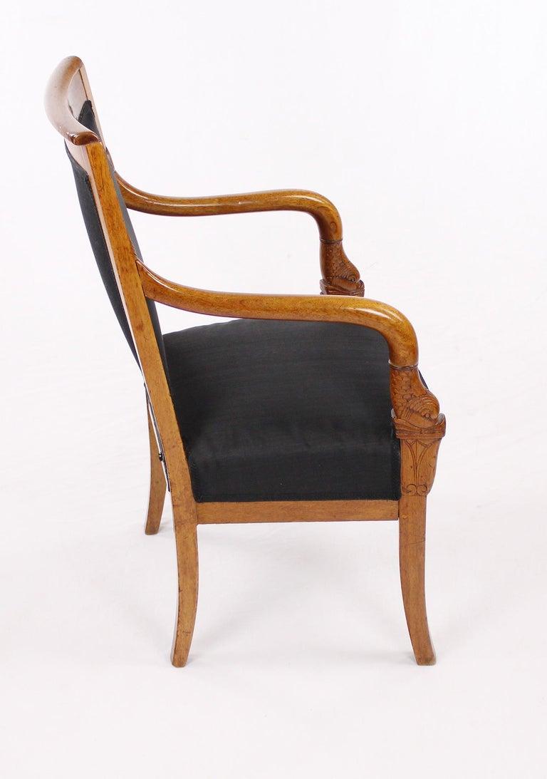 French Empire Armchair, Walnut, 1800-1810, Shellac Polish For Sale 1