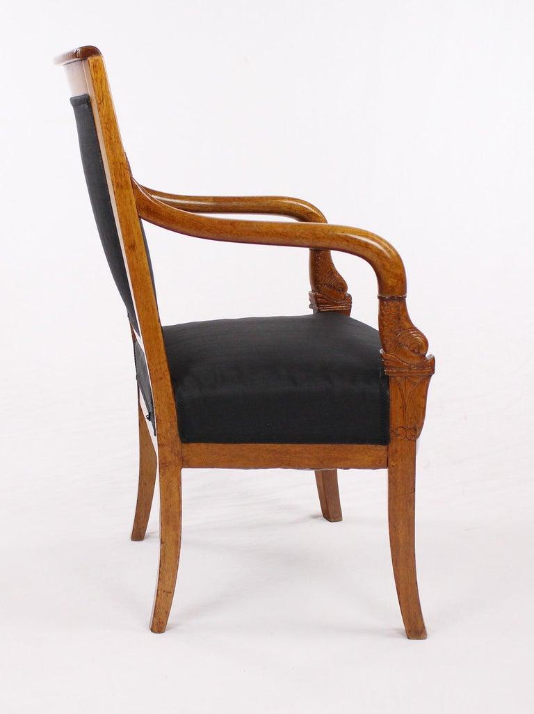 French Empire Armchair, Walnut, 1800-1810, Shellac Polish For Sale 2