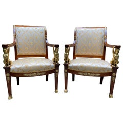 French Empire Armchairs with Bronze Mounts, 19th Century