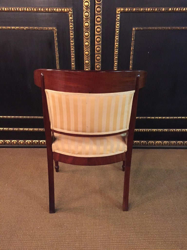 French Empire Armchair, Solid Mahogany, 1800-1810, Shellac Polish For Sale 6
