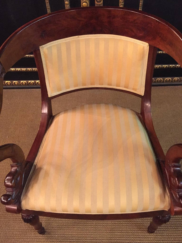 French Empire Armchair, Solid Mahogany, 1800-1810, Shellac Polish For Sale 7