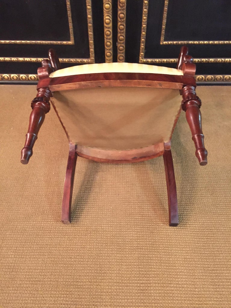 French Empire Armchair, Solid Mahogany, 1800-1810, Shellac Polish For Sale 10