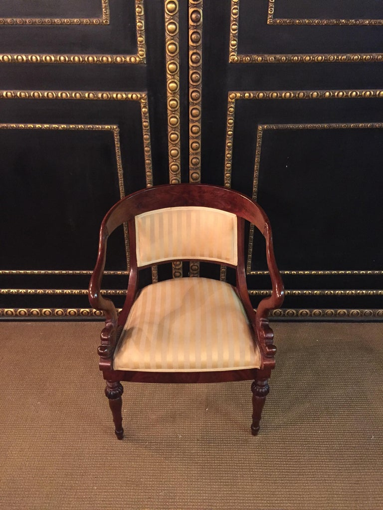 19th Century French Empire Armchair, Solid Mahogany, 1800-1810, Shellac Polish For Sale
