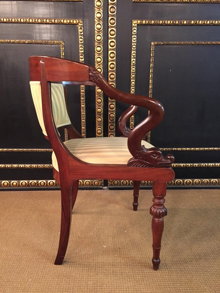 French Empire Armchair, Solid Mahogany, 1800-1810, Shellac Polish For Sale 2