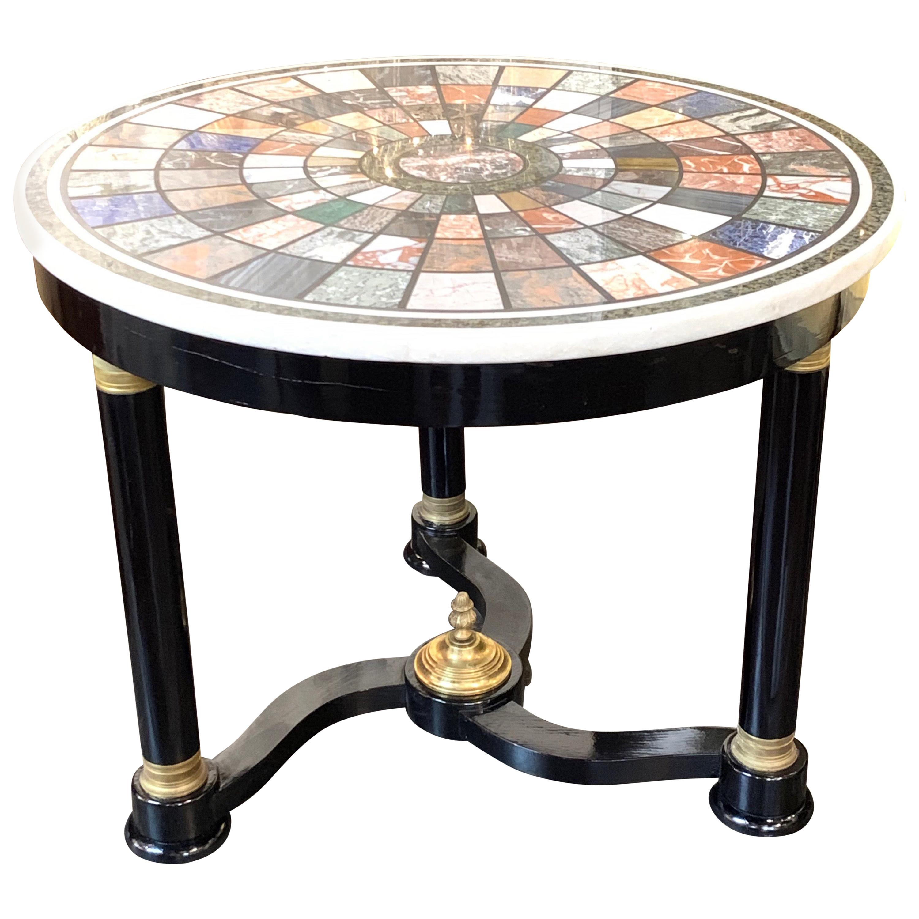 French Empire Black Lacquered Center Table with Specimen Marble Top