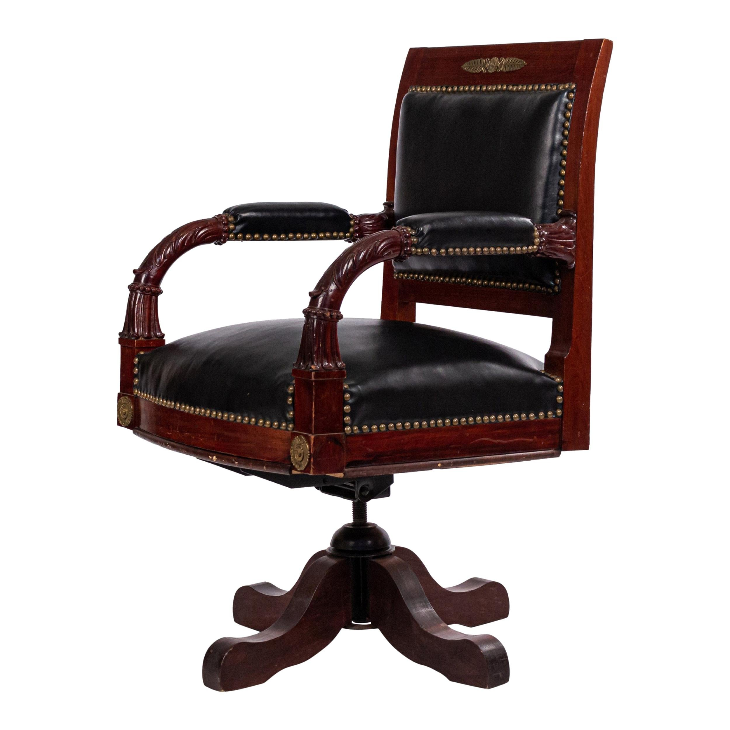 French Empire Black Leather Swivel Chair