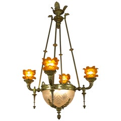 French Empire Bronze and Frosted Glass Eight-Light Chandelier