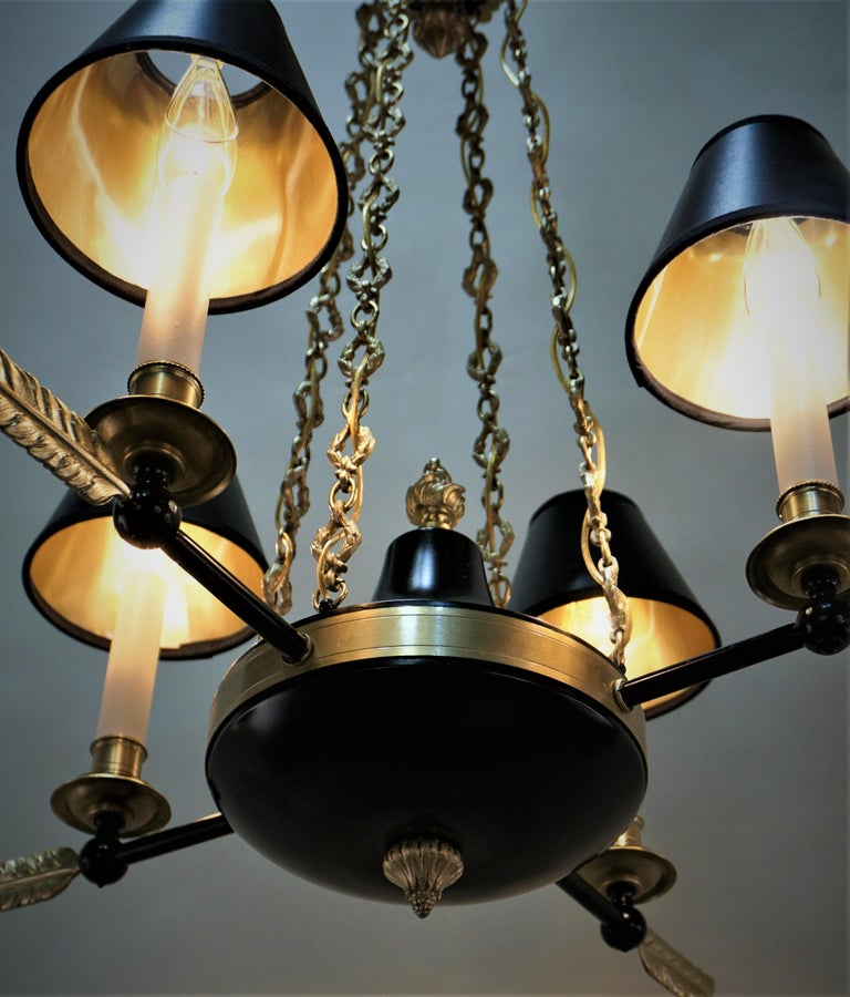 Early 20th Century French Empire Bronze Chandelier For Sale
