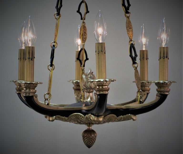 French Empire Bronze Chandelier For Sale 3