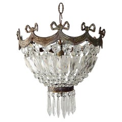 French Empire Bronze Crystal Bows Flushmount Chandelier, circa 1930