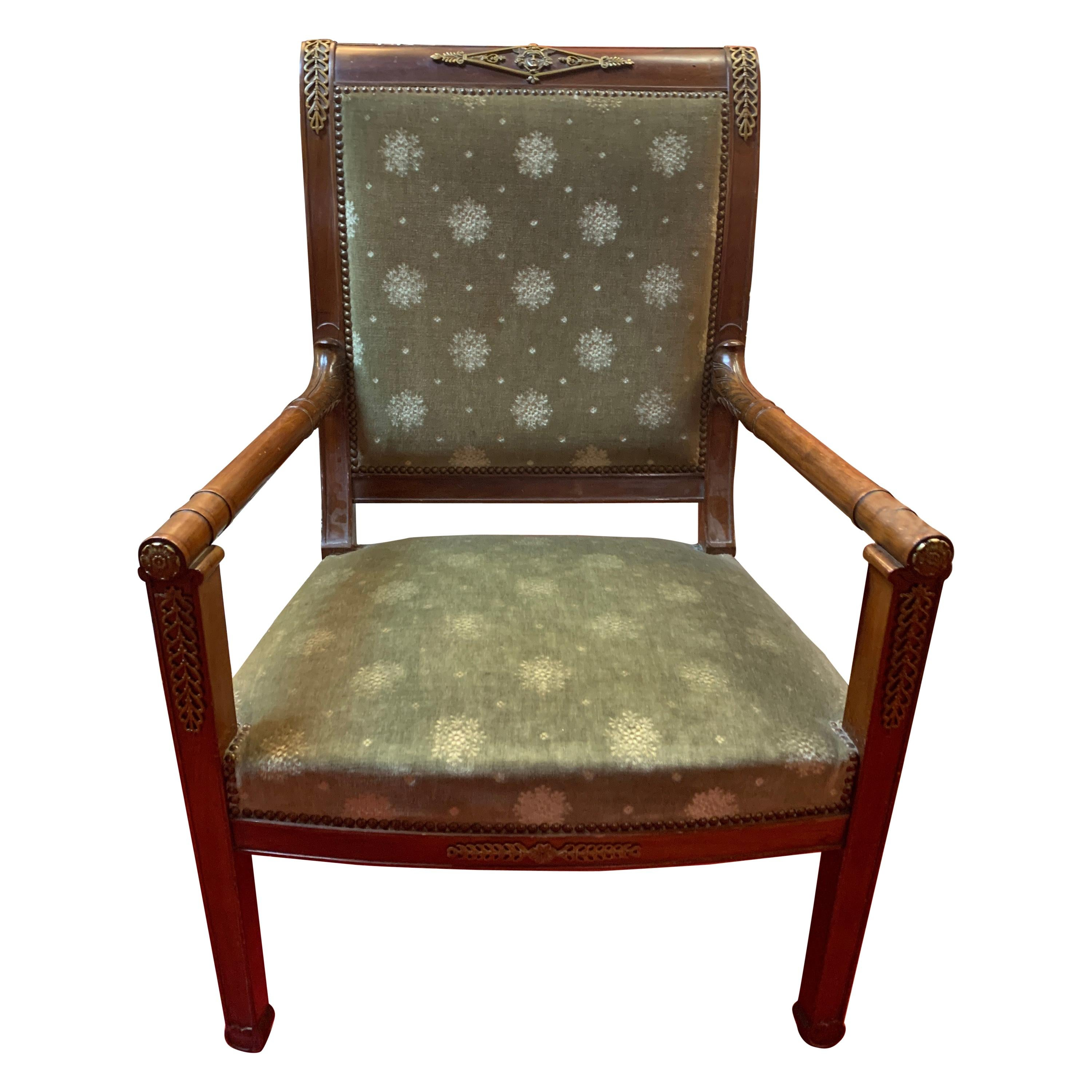 French Empire Bronze Decorations Fauteuil Armchair, circa 1820