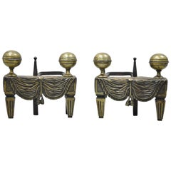 French Empire Bronze Drape & Tassel Cannonball Chenet Small Andirons, a Pair