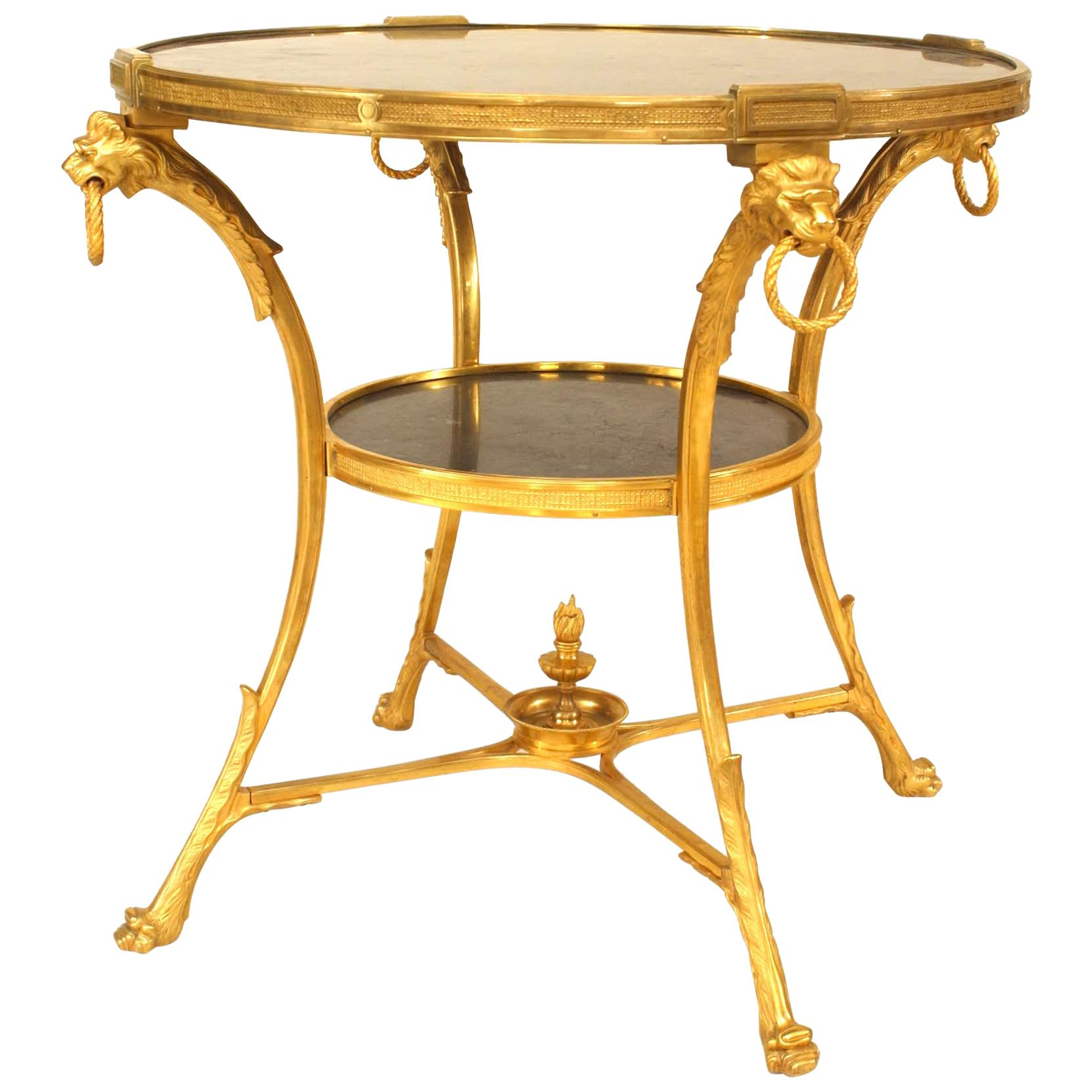 French Empire Bronze Lion End Tables