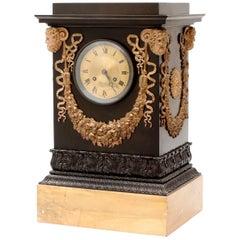 French Empire Bronze Mantle Clock by Hemon, in LEDURE Case, c.1820