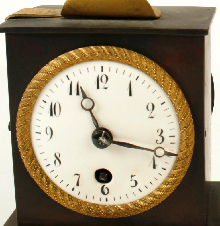 19th Century French Empire Bronze Ormolu-Mounted Figural Clock, Early 19th c For Sale
