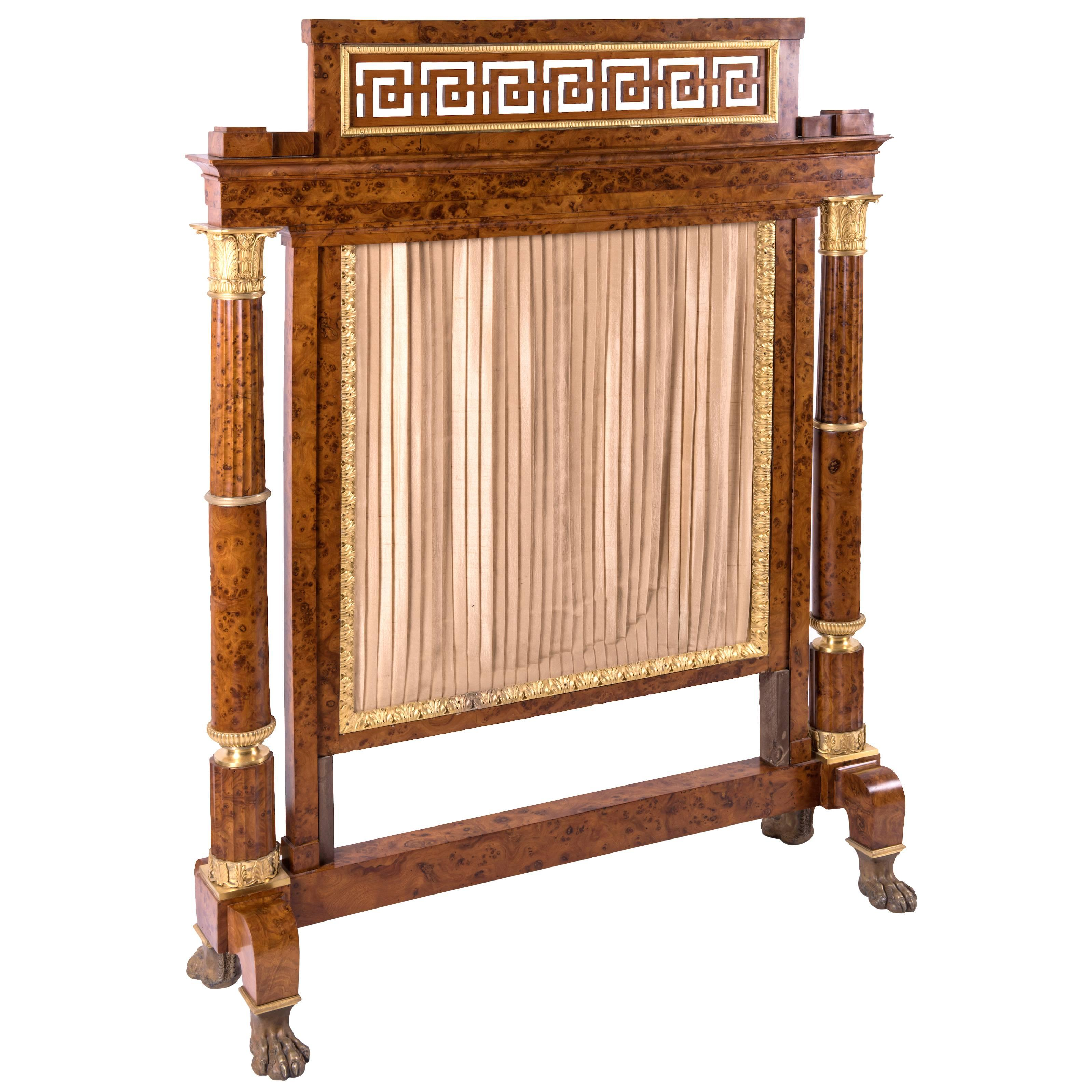French Empire Burl Thuya Wood Fireplace Screen With Gilt Bronze Mounts 1810 At 1stdibs