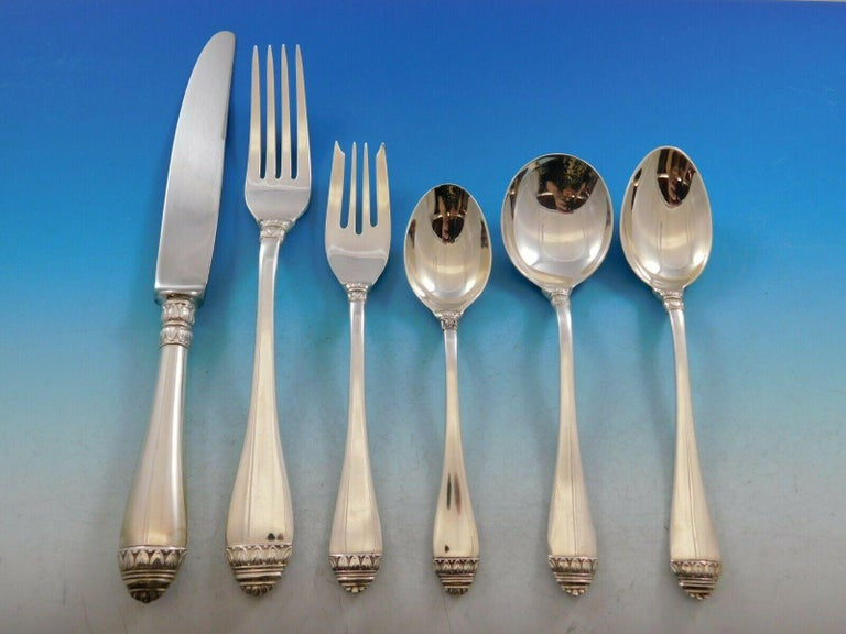 French Empire by Buccellati Sterling Silver Flatware Set 12 Service 74pc Dinner In Excellent Condition For Sale In Big Bend, WI