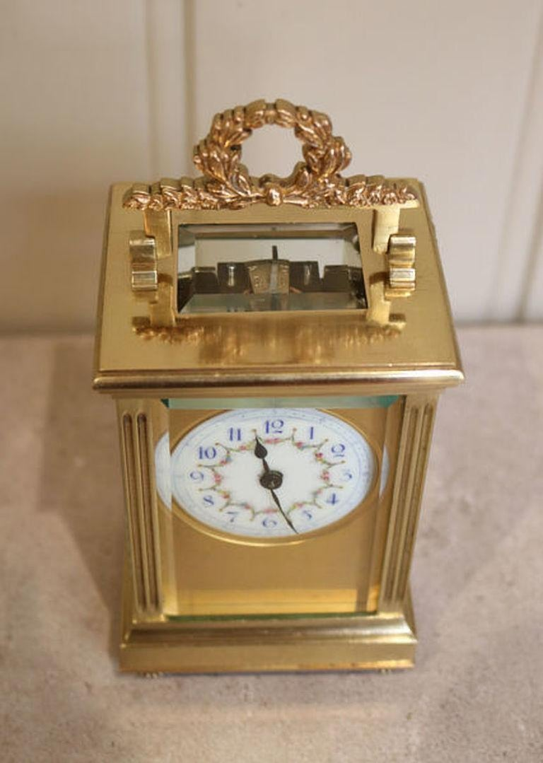 Lacquered French Empire Carriage Clock For Sale
