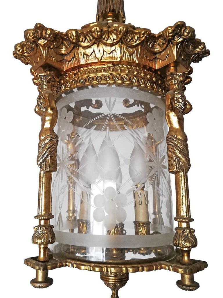 Cast French Empire Caryatids Fire Gilded Bronze Cut Glass 4-Light Lantern Chandelier For Sale
