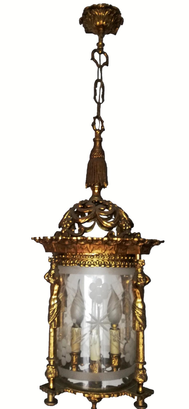 French Empire Caryatids Fire Gilded Bronze Cut Glass 4-Light Lantern Chandelier For Sale 3