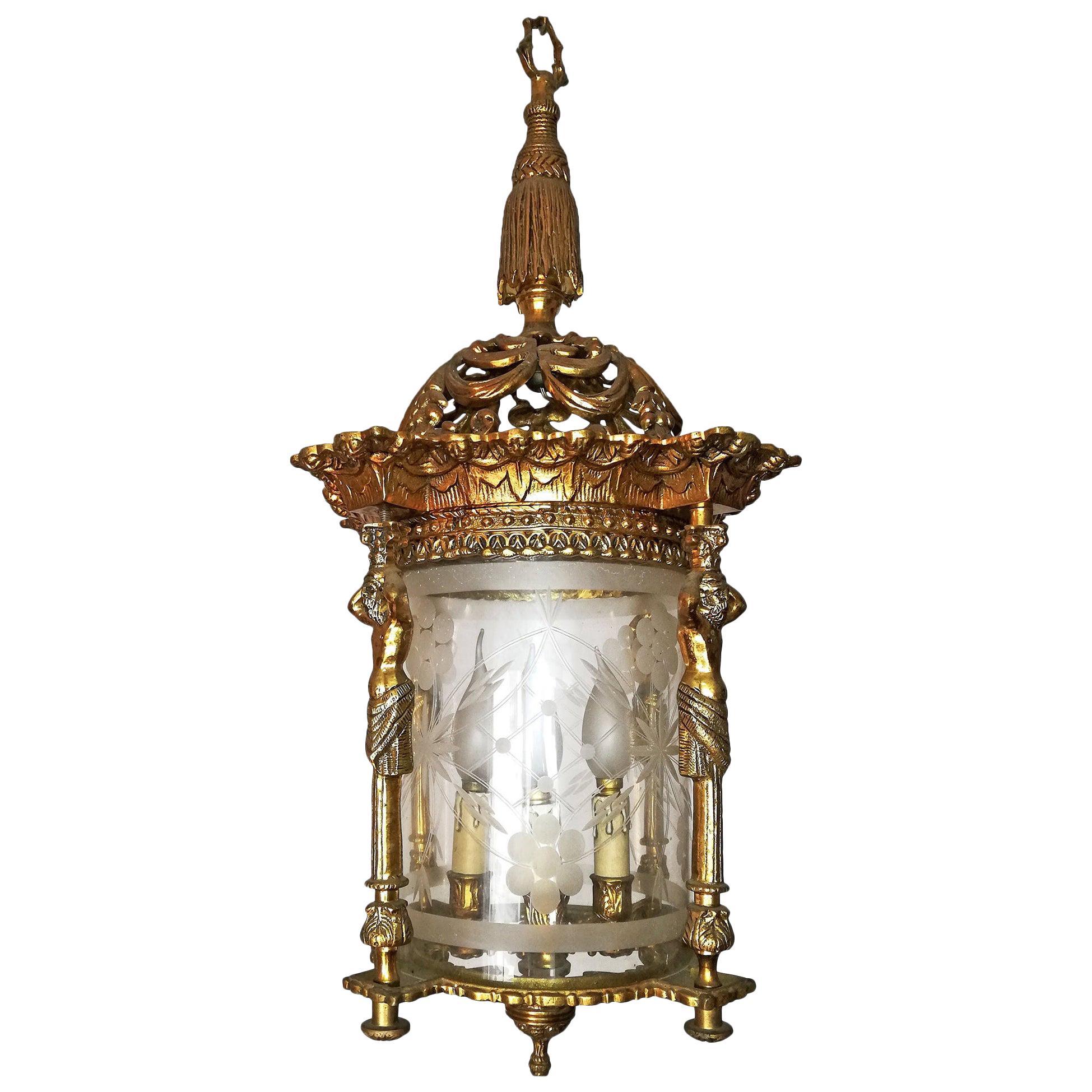 French Empire Caryatids Fire Gilded Bronze Cut Glass 4-Light Lantern Chandelier