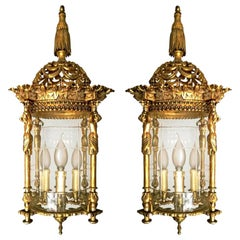 French Empire Caryatids Gilded Bronze Cut Glass 4-Light Lantern Chandelier, Pair