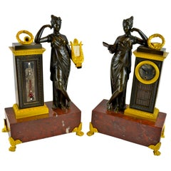 French Empire Clock and Barometer Desk Set