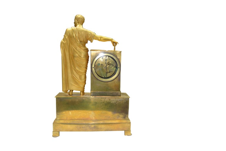 Gilt French Empire Clock Depicting Napoleon Dressed as Caesar For Sale