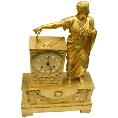 French Empire Clock Depicting Napoleon Dressed as Caesar