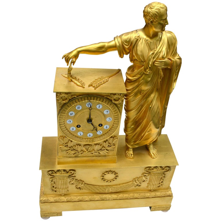 French Empire Clock Depicting Napoleon Dressed as Caesar For Sale