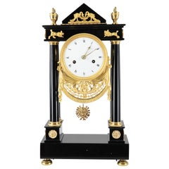 French Empire Column Clock, Desk Clock, black Marble and Gilt Brass, 1790-1800