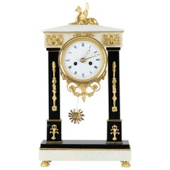 French Empire Column Desk Clock, Marble and Gilt Brass, 1800-1810 Black & White