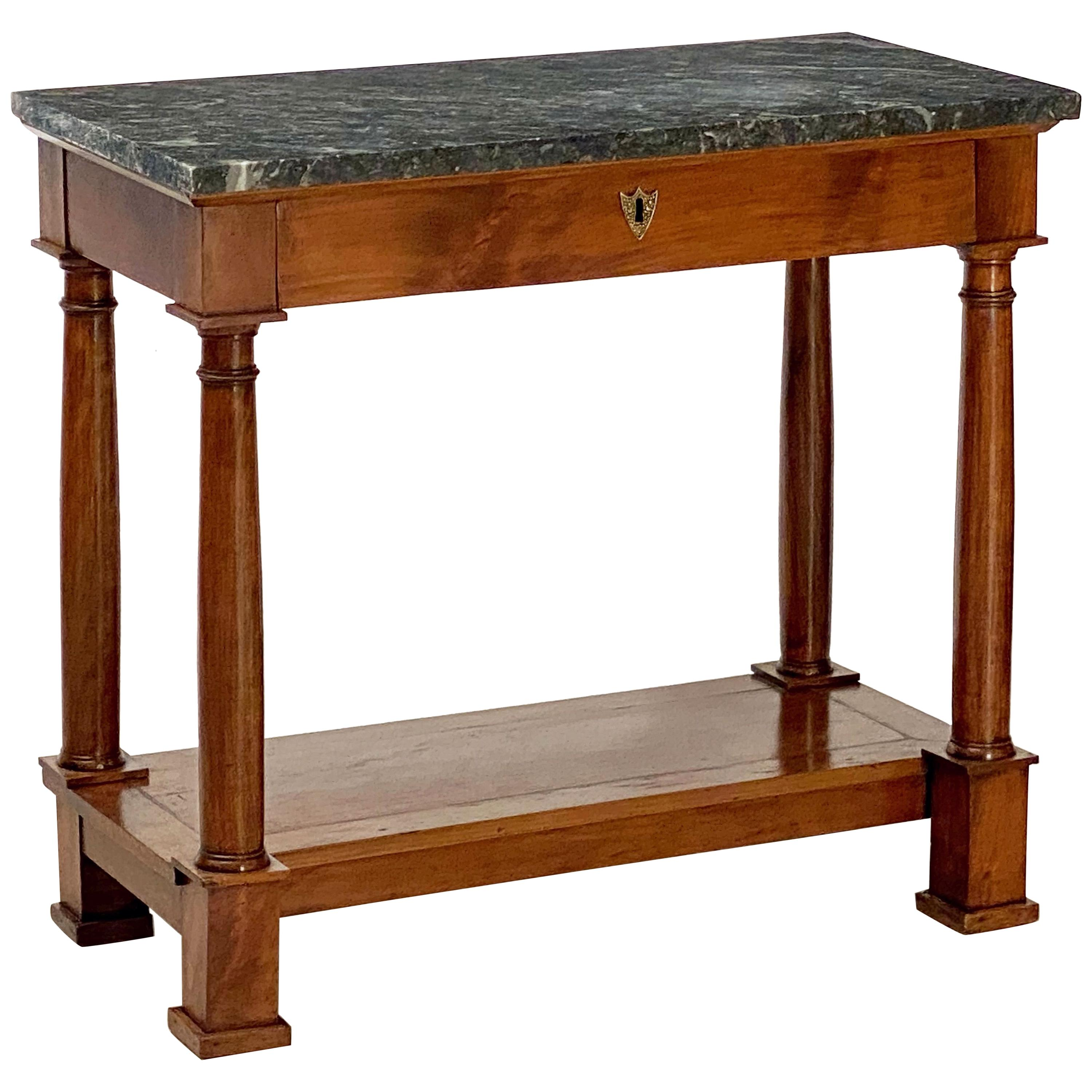 French Empire Console Table of Mahogany with Marble Top