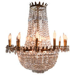 French Empire Crystal and Bronze Chandelier
