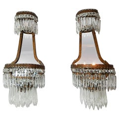 French Empire Crystal Prism with Mirrors Sconces, circa 1900