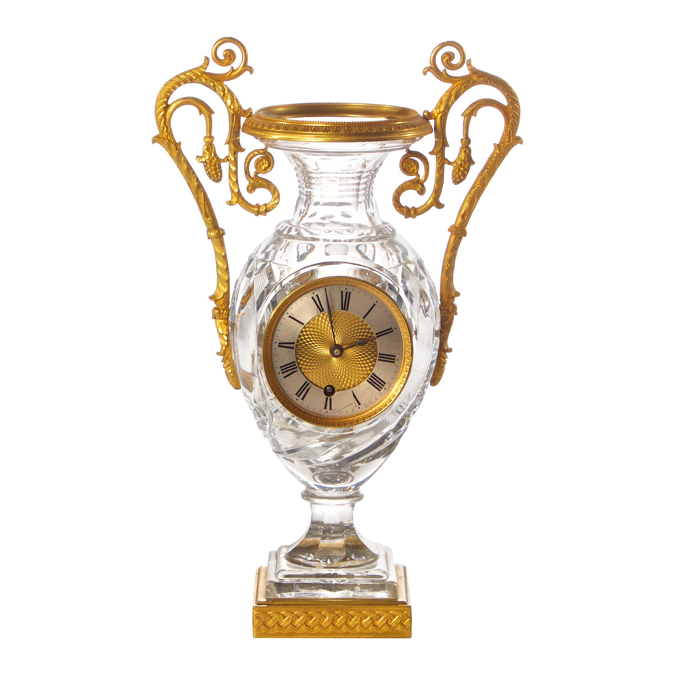 French Empire Cut Crystal and Ormolu Medici Clock