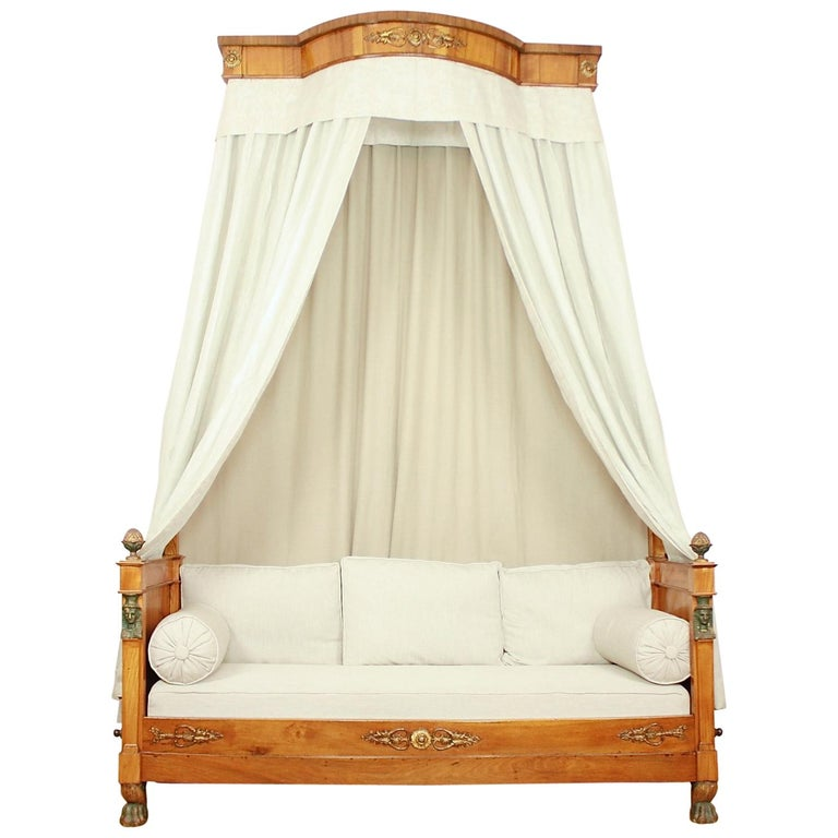 French Empire Daybed with Demilune Canopy, circa 1815 For Sale