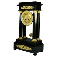 French Empire Ebonized Mahogany & Bronze Portico Mantel Clock, circa 1890