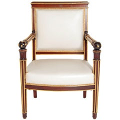 French Empire Fauteuil by Ébéniste Jacob-Desmalter, circa 1820