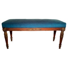 French Empire Faux Paint and Parcel Gilt Bench