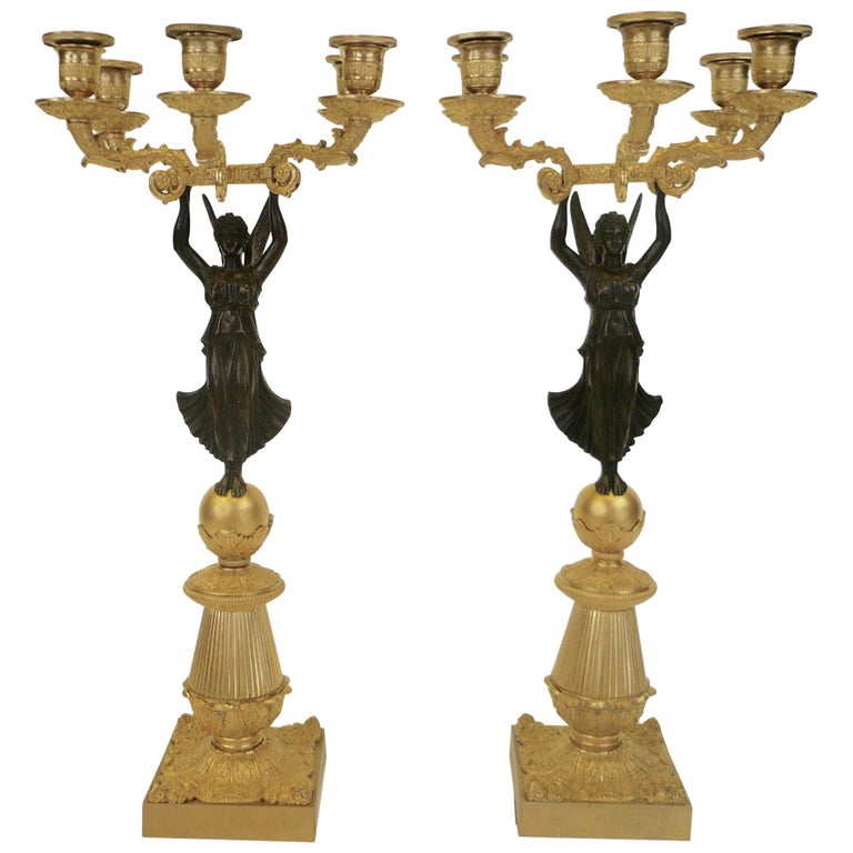 French Empire Figural Ormolu and Patinated Bronze Candelabra, Signed Mene, Pair For Sale