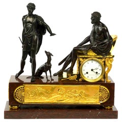 French Empire Figurative Clock Paying Homage to Hippolytus and Theseus