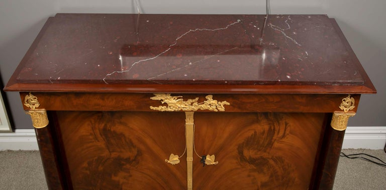 French Empire Flame Mahogany and Gilt Bronze Commode with Rouge Griotte For Sale 9